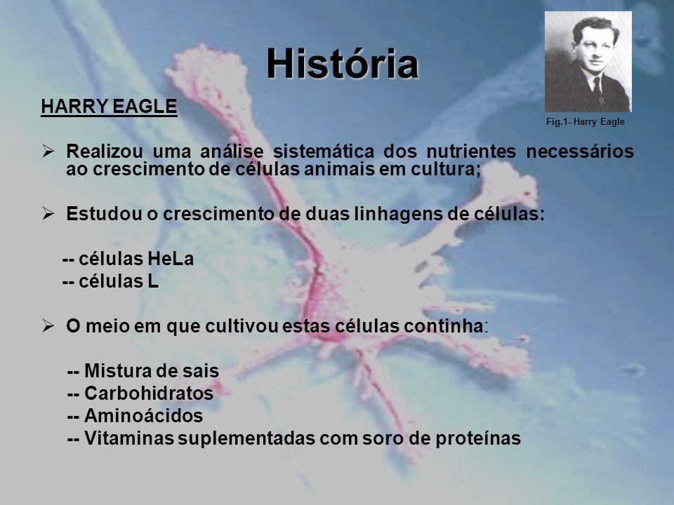 História HARRY EAGLE. Realizou uma análise sistemática dos nutrientes necessários ao crescimento de células animais em cultura;