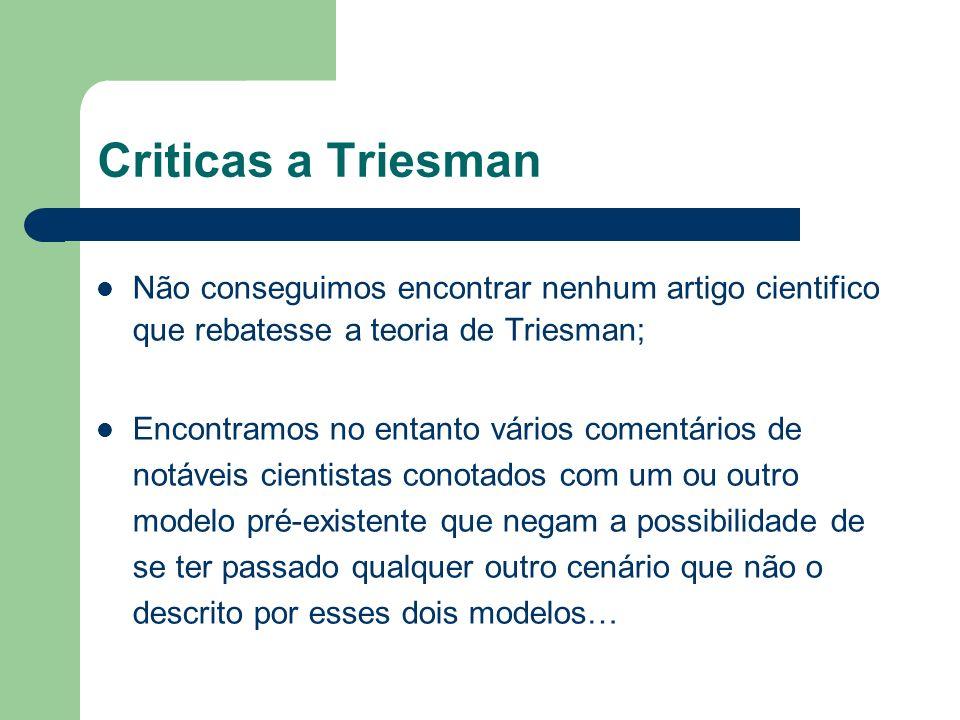 Criticas a Triesman Não conseguimos encontrar nenhum artigo cientifico que rebatesse a teoria de Triesman;