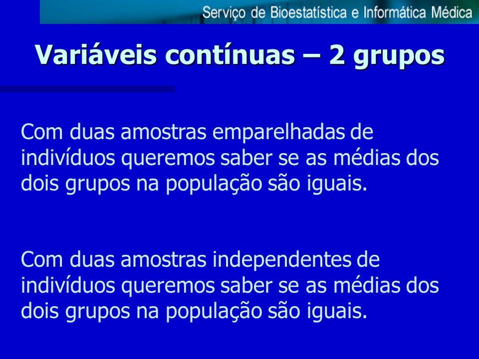 Variáveis contínuas – 2 grupos