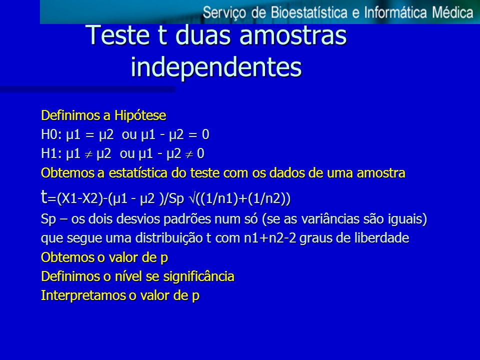 Teste t duas amostras independentes