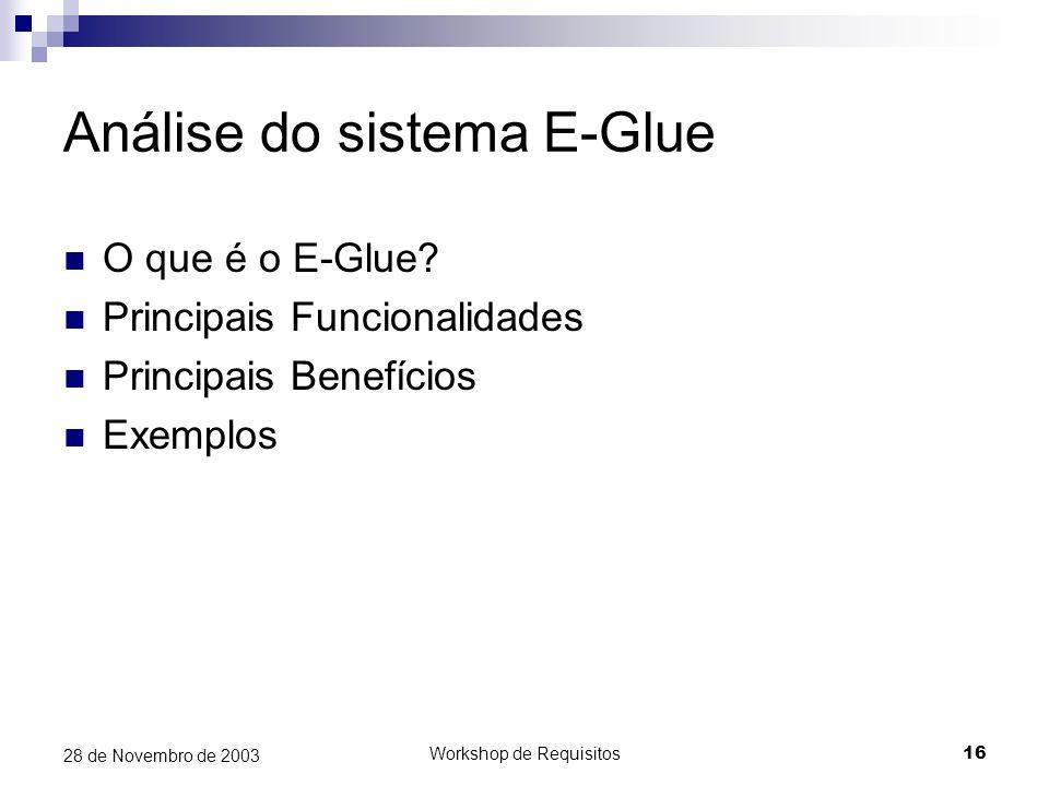 Análise do sistema E-Glue