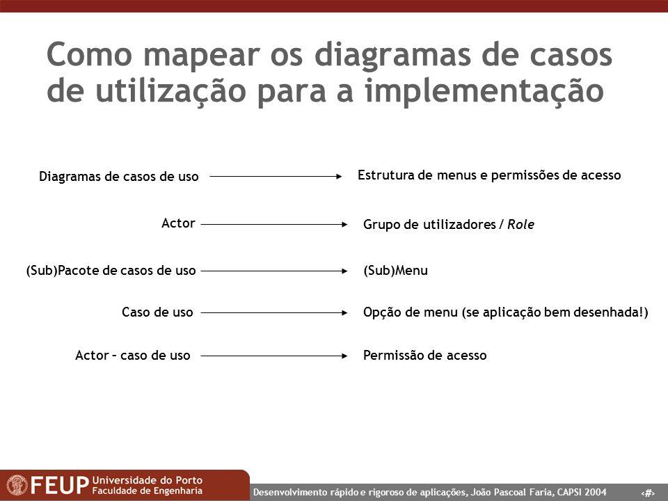 Como mapear os diagramas de casos de utilização para a implementação