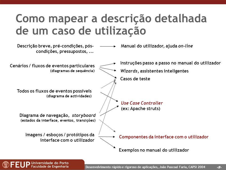 Como mapear a descrição detalhada de um caso de utilização
