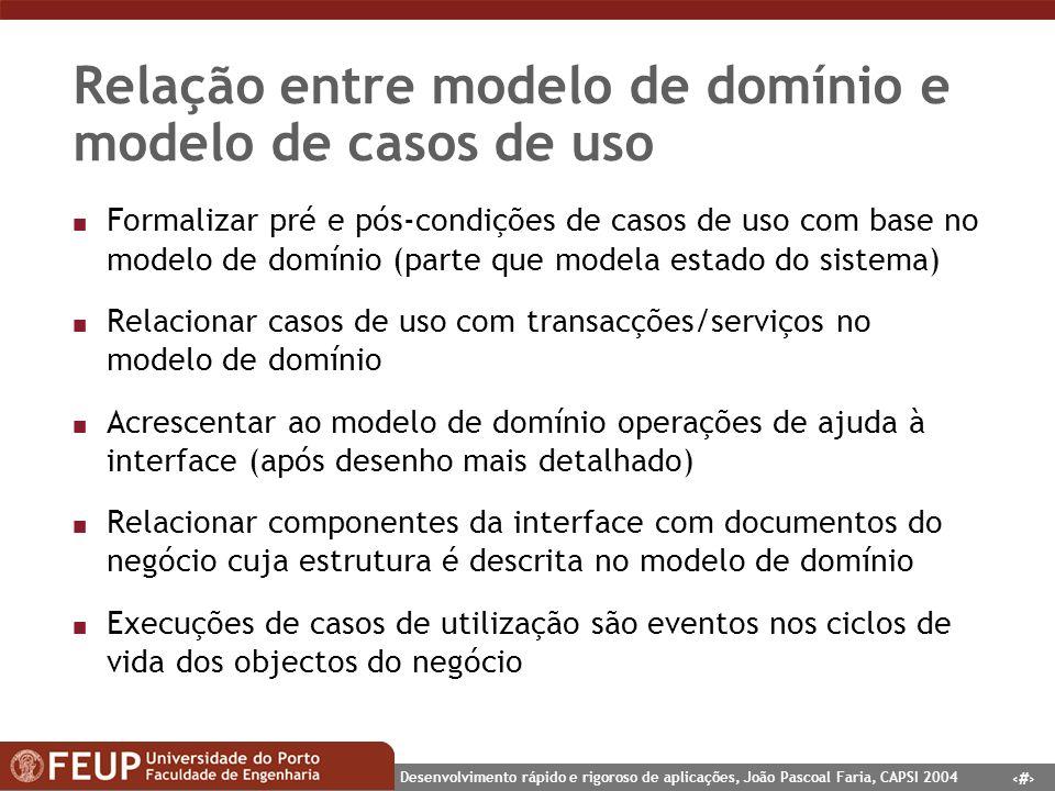 Relação entre modelo de domínio e modelo de casos de uso