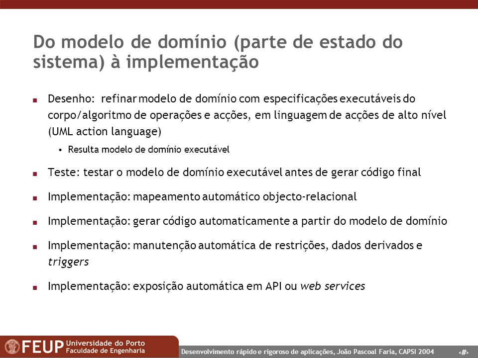 Do modelo de domínio (parte de estado do sistema) à implementação