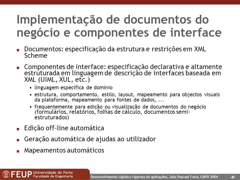 Implementação de documentos do negócio e componentes de interface