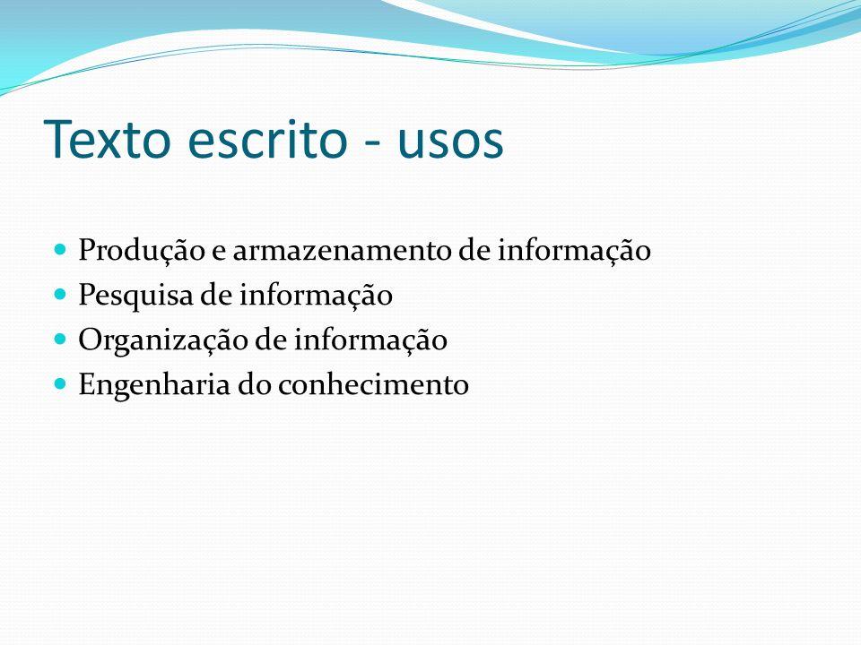 Texto escrito - usos Produção e armazenamento de informação