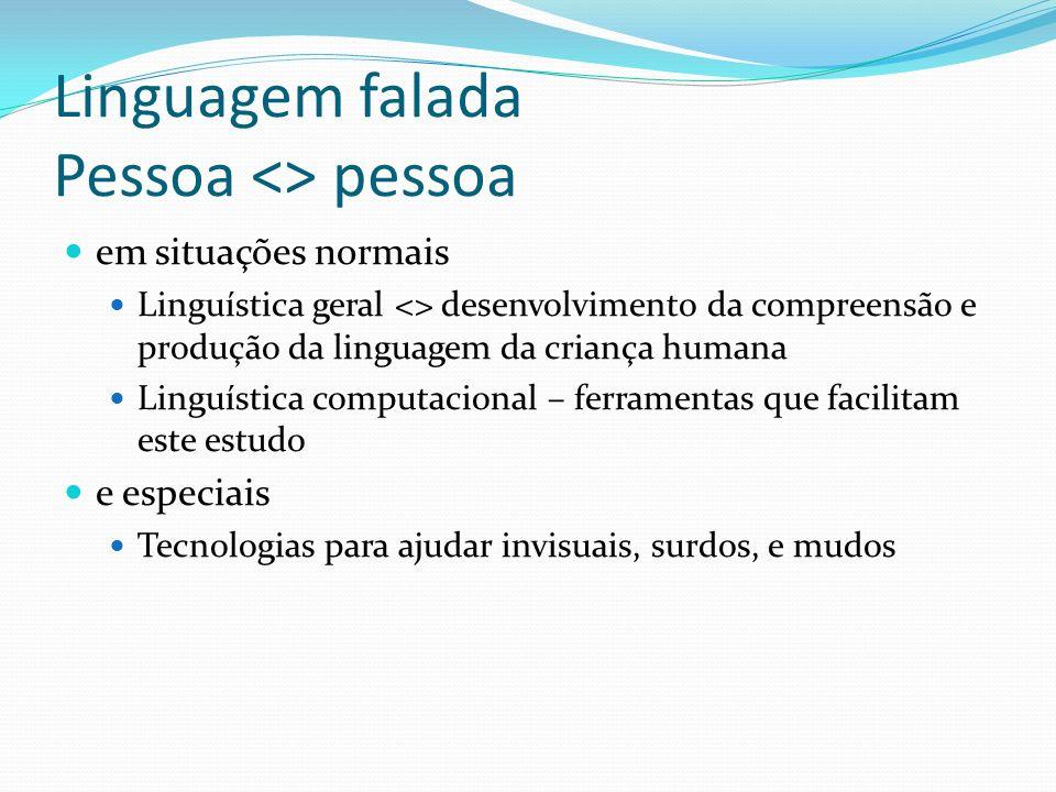 Linguagem falada Pessoa <> pessoa