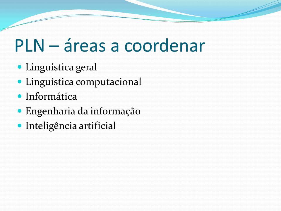 PLN – áreas a coordenar Linguística geral Linguística computacional