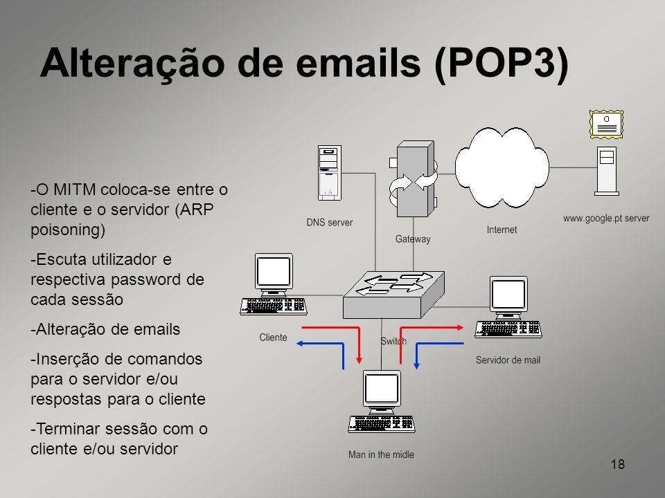 Alteração de emails (POP3)