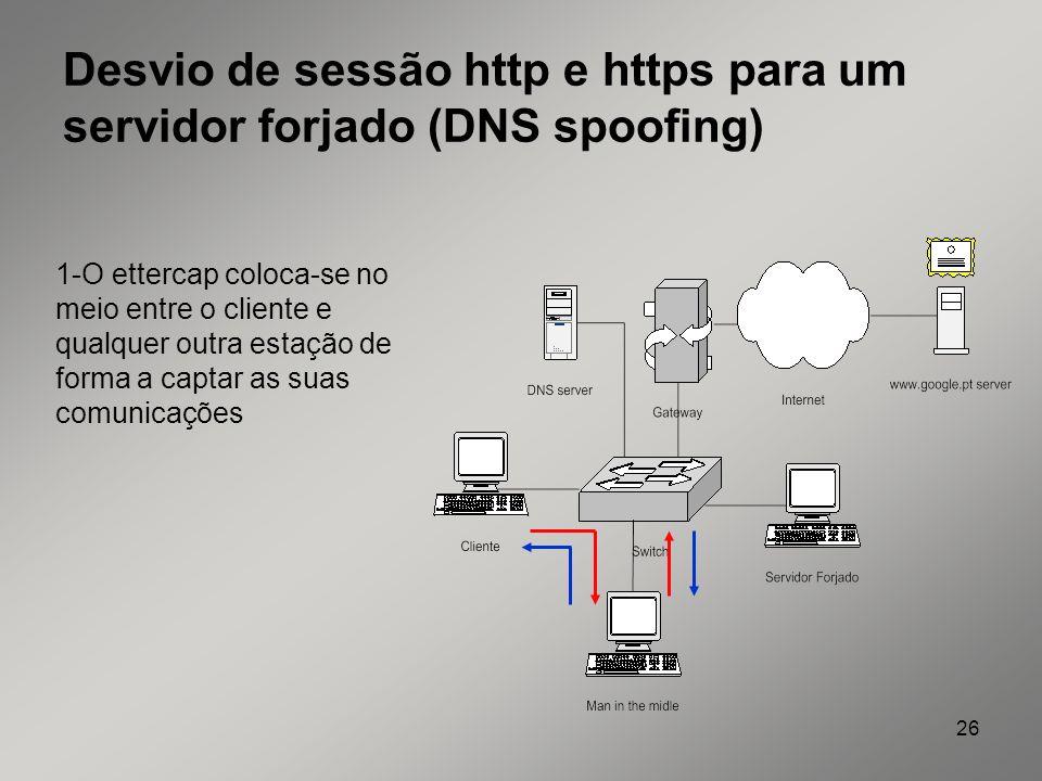 Desvio de sessão http e https para um servidor forjado (DNS spoofing)