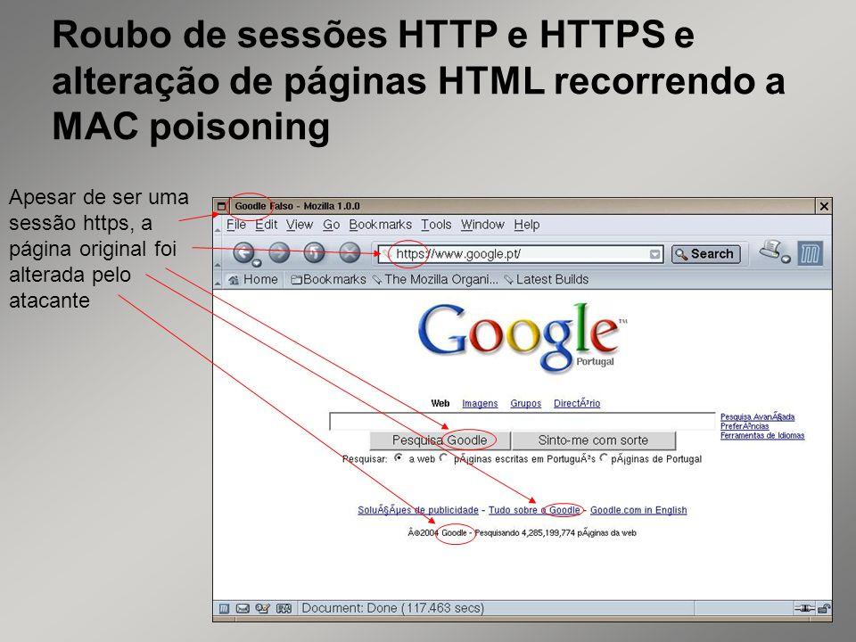 Roubo de sessões HTTP e HTTPS e alteração de páginas HTML recorrendo a MAC poisoning