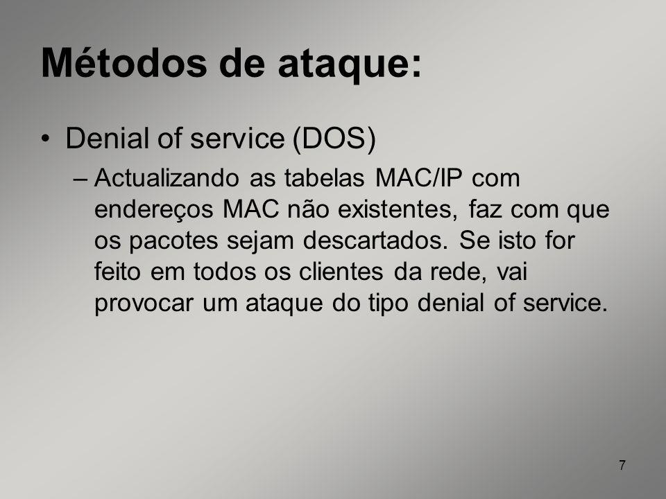 Métodos de ataque: Denial of service (DOS)