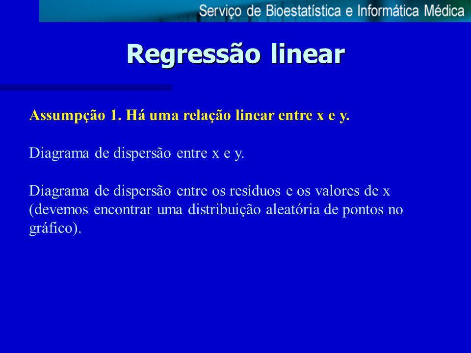 Regressão linear Assumpção 1. Há uma relação linear entre x e y.