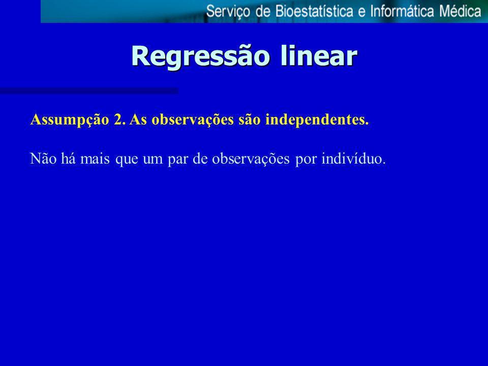 Regressão linear Assumpção 2. As observações são independentes.