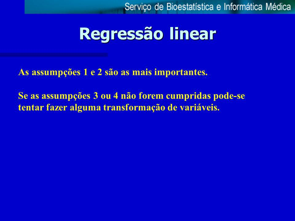 Regressão linear As assumpções 1 e 2 são as mais importantes.