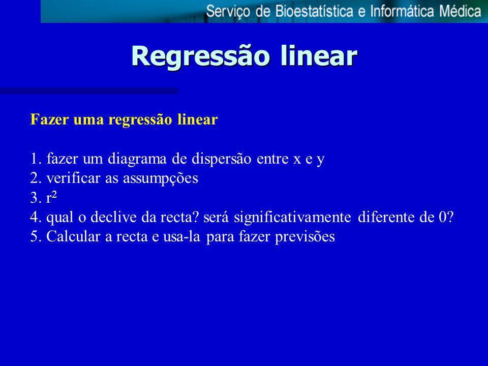 Regressão linear Fazer uma regressão linear
