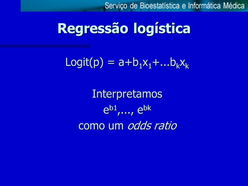 Regressão logística Logit(p) = a+b1x1+...bkxk Interpretamos