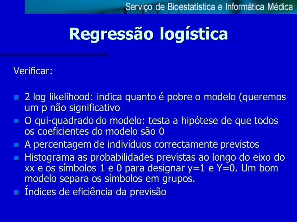 Regressão logística Verificar: