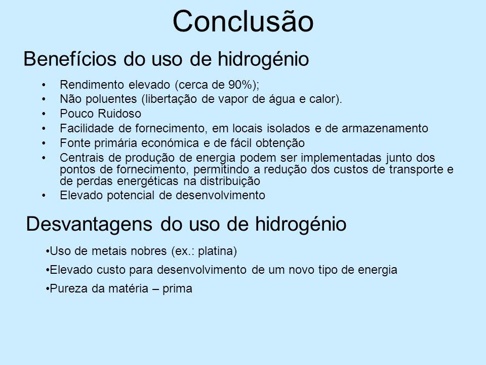 Conclusão Benefícios do uso de hidrogénio