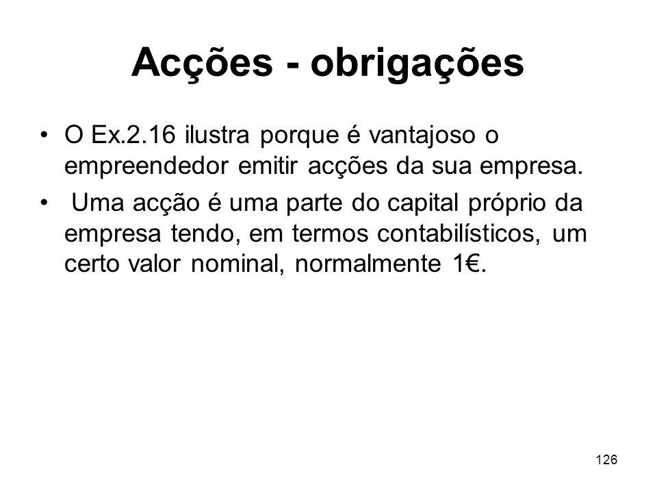 Acções - obrigações O Ex.2.16 ilustra porque é vantajoso o empreendedor emitir acções da sua empresa.