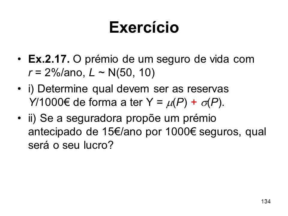 Exercício Ex.2.17. O prémio de um seguro de vida com r = 2%/ano, L ~ N(50, 10)