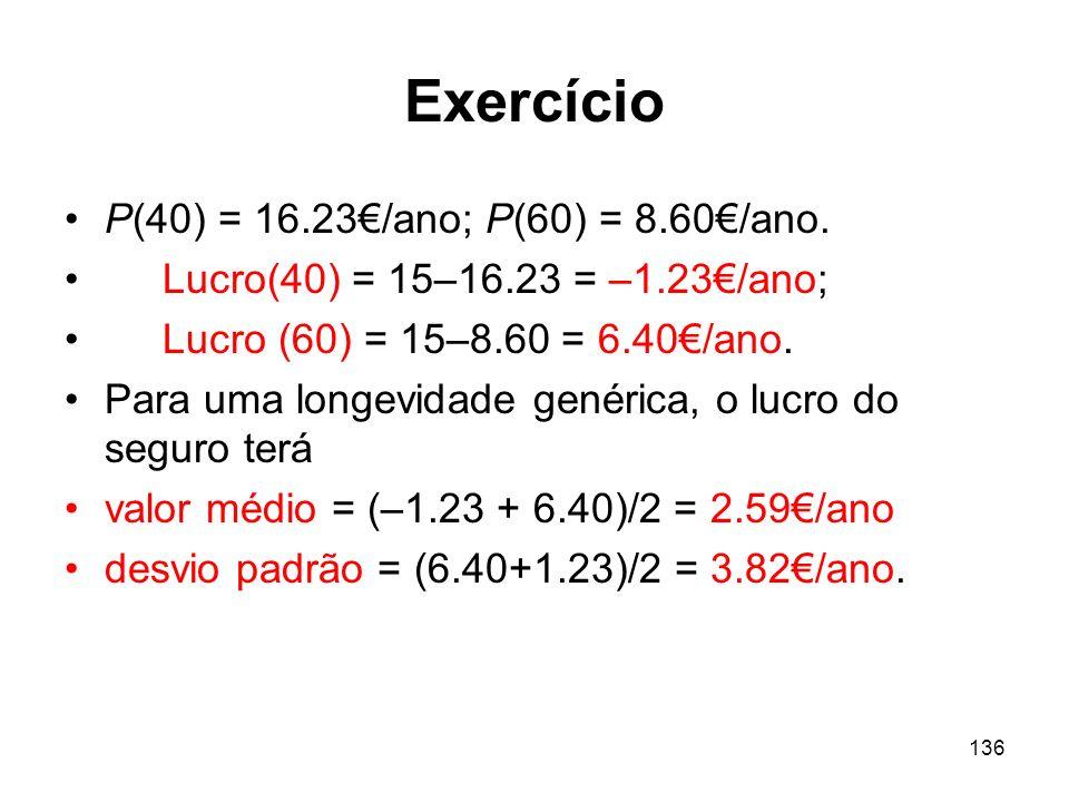 Exercício P(40) = 16.23€/ano; P(60) = 8.60€/ano.