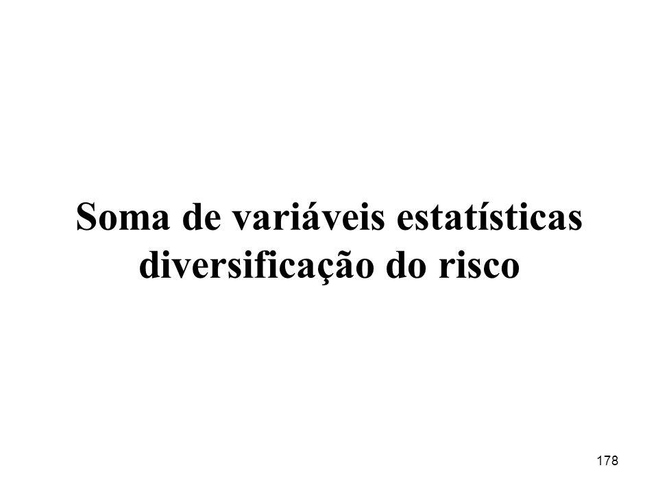 Soma de variáveis estatísticas diversificação do risco