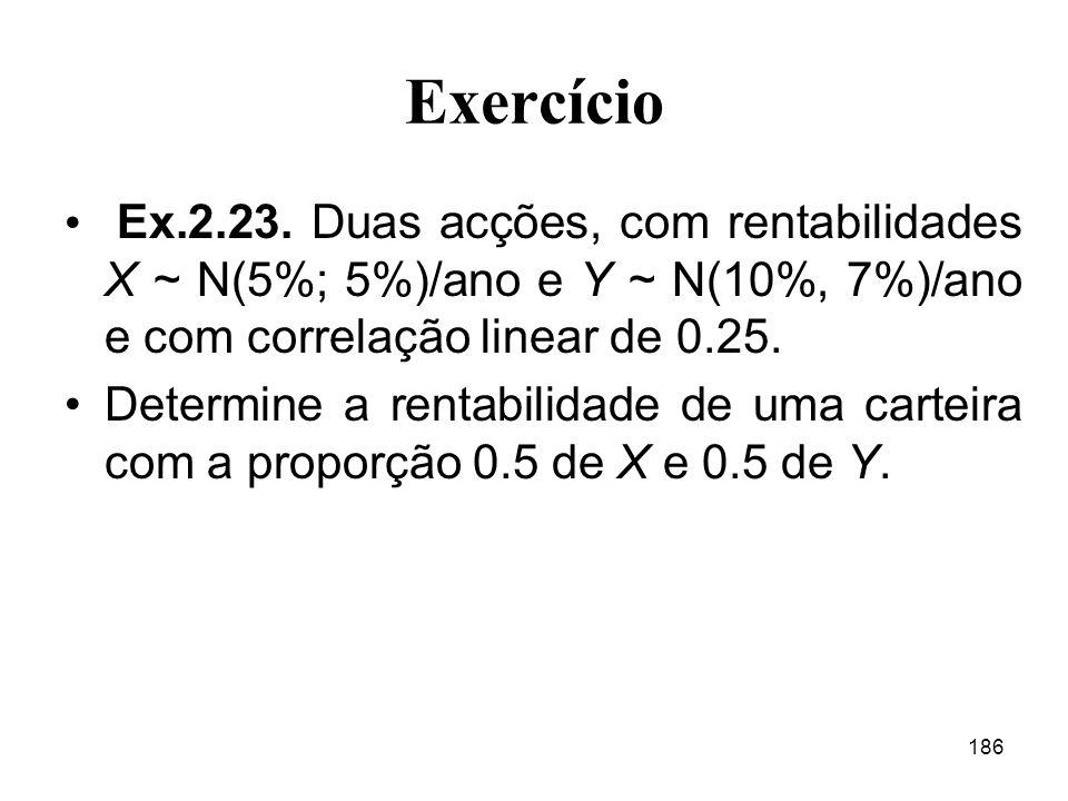 Exercício Ex.2.23. Duas acções, com rentabilidades X ~ N(5%; 5%)/ano e Y ~ N(10%, 7%)/ano e com correlação linear de 0.25.