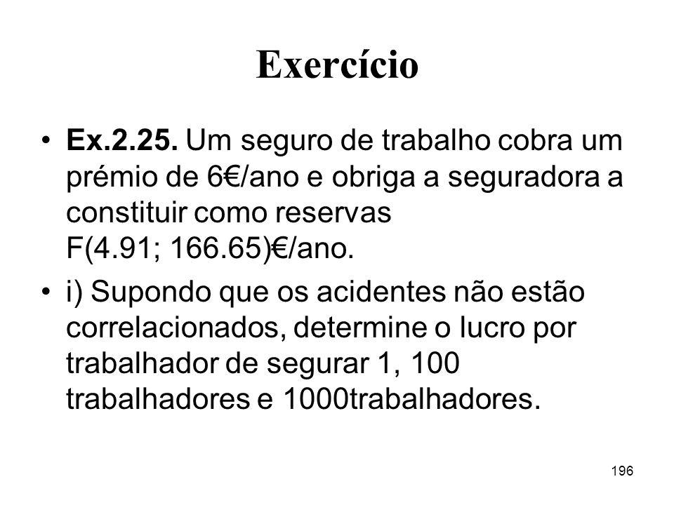 Exercício Ex.2.25. Um seguro de trabalho cobra um prémio de 6€/ano e obriga a seguradora a constituir como reservas F(4.91; 166.65)€/ano.