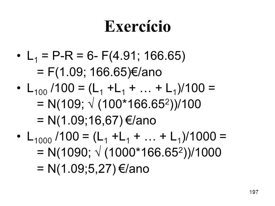 Exercício L1 = P-R = 6- F(4.91; 166.65) = F(1.09; 166.65)€/ano