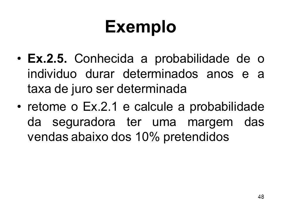 Exemplo Ex.2.5. Conhecida a probabilidade de o individuo durar determinados anos e a taxa de juro ser determinada.