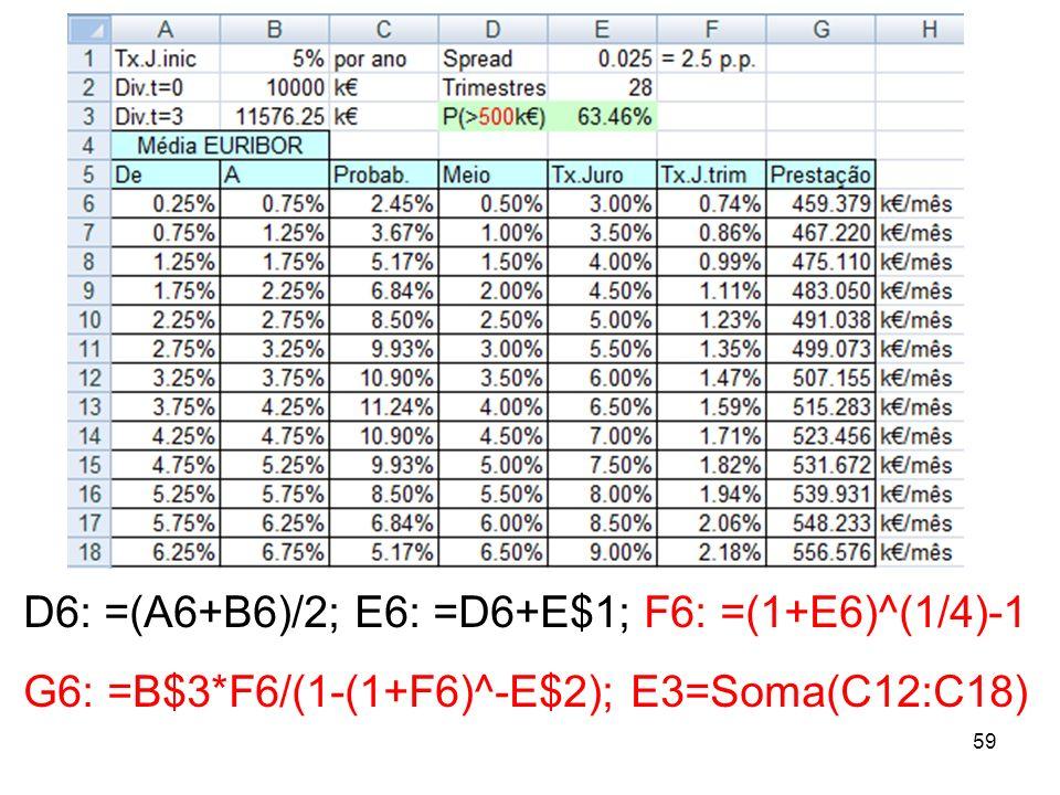 D6: =(A6+B6)/2; E6: =D6+E$1; F6: =(1+E6)^(1/4)-1