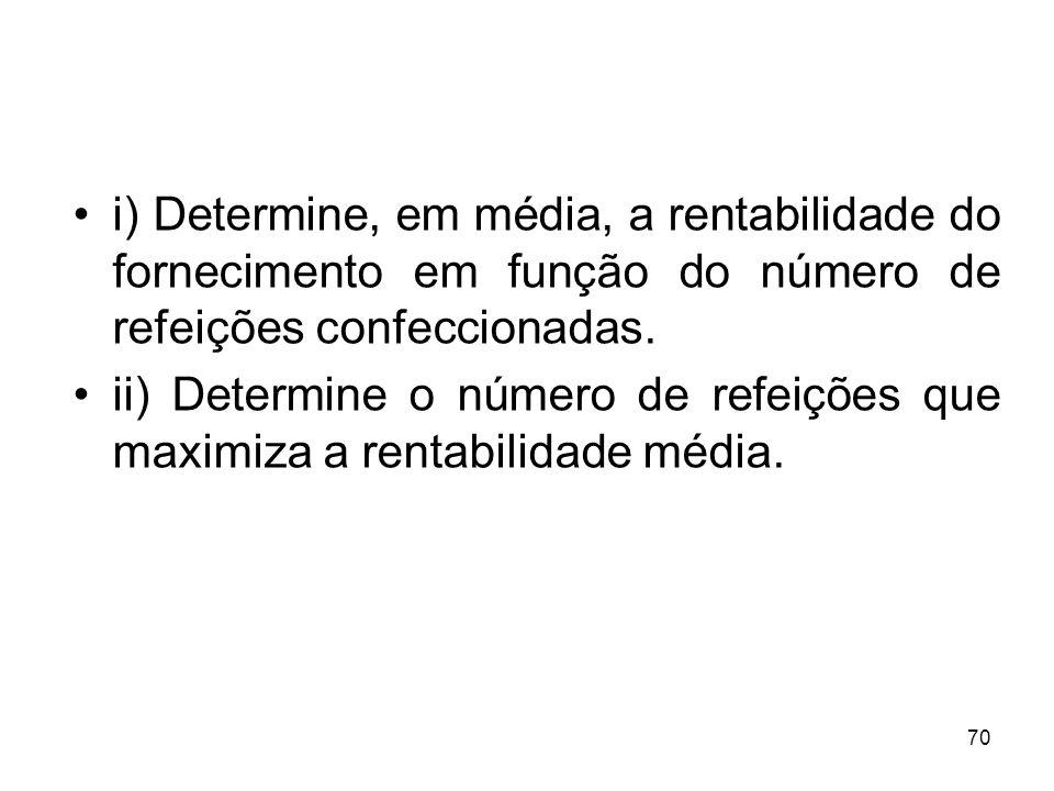 i) Determine, em média, a rentabilidade do fornecimento em função do número de refeições confeccionadas.