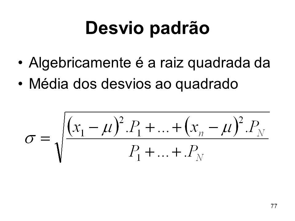 Desvio padrão Algebricamente é a raiz quadrada da