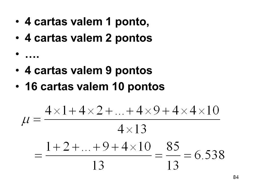 4 cartas valem 1 ponto, 4 cartas valem 2 pontos. ….