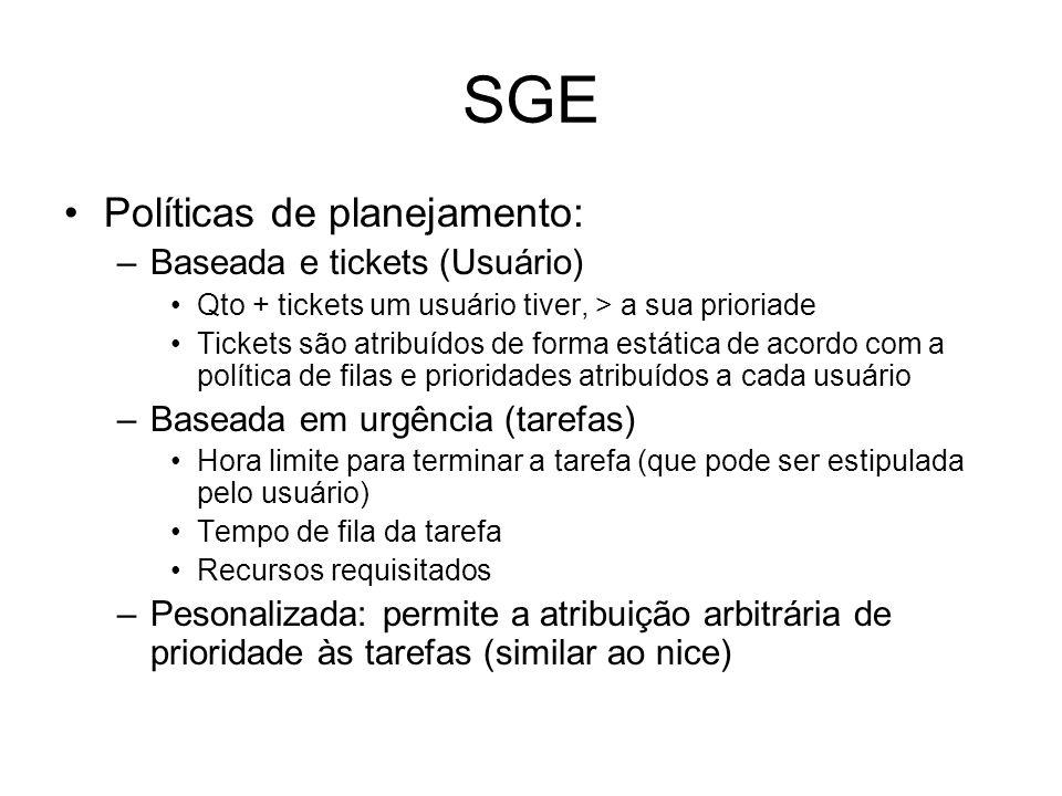 SGE Políticas de planejamento: Baseada e tickets (Usuário)