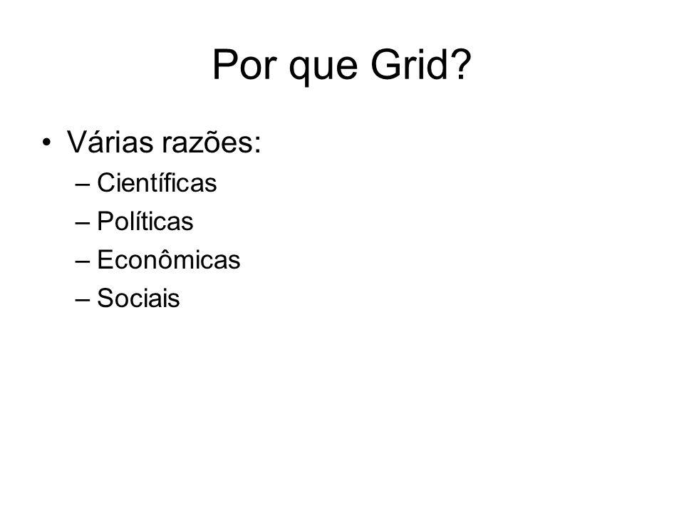 Por que Grid Várias razões: Científicas Políticas Econômicas Sociais