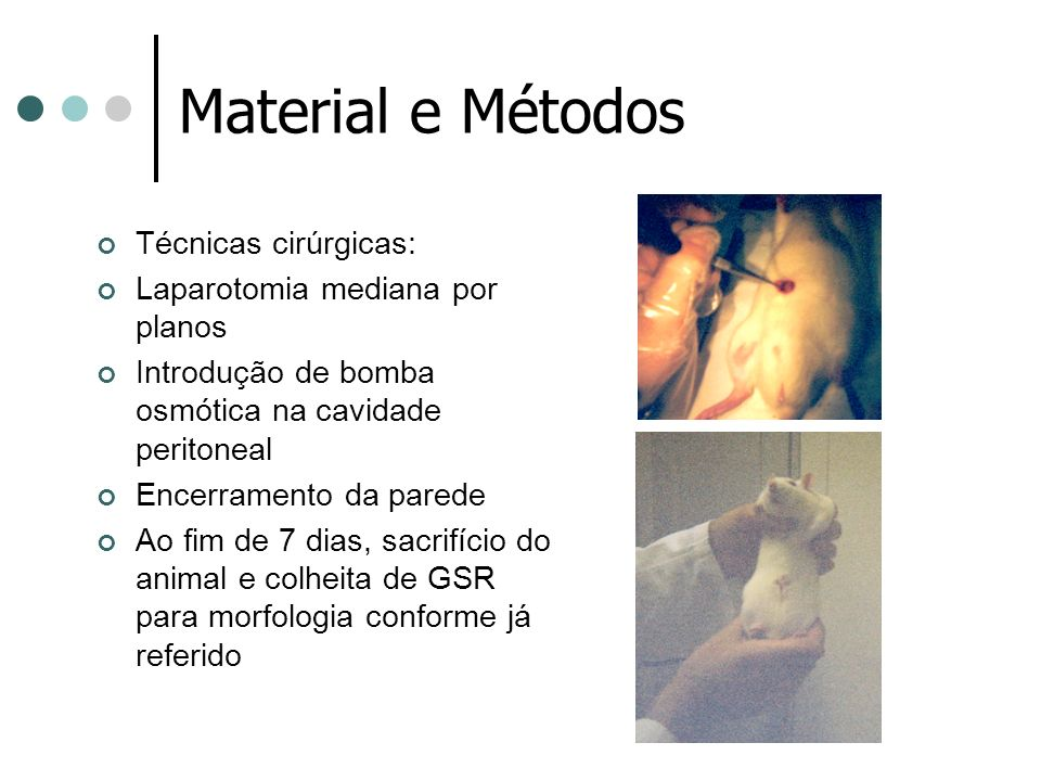 Material e Métodos Técnicas cirúrgicas: Laparotomia mediana por planos