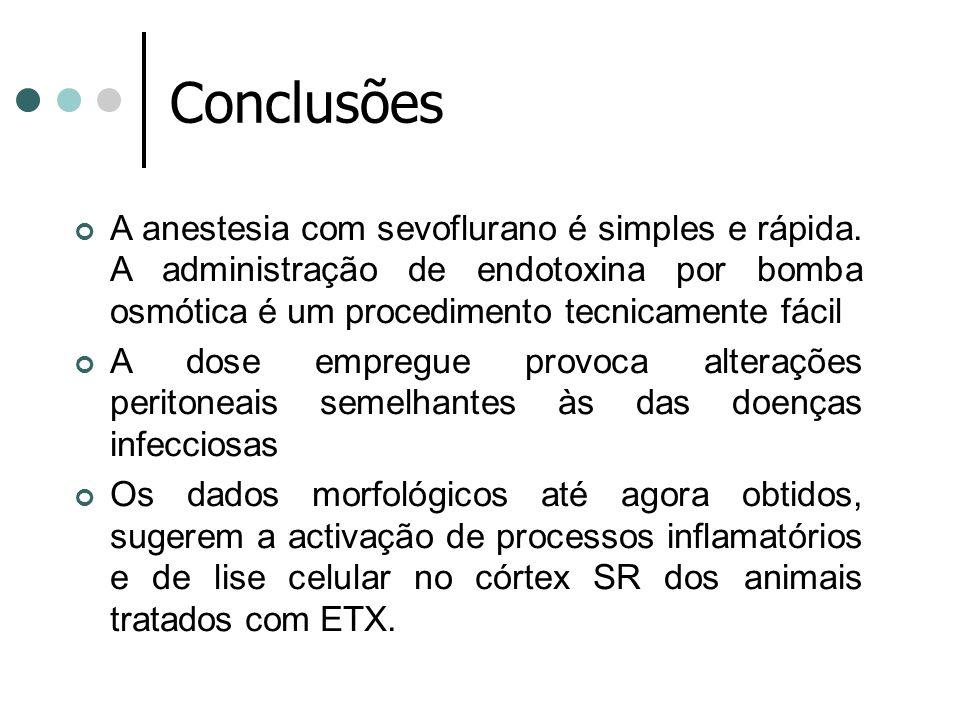 Conclusões A anestesia com sevoflurano é simples e rápida. A administração de endotoxina por bomba osmótica é um procedimento tecnicamente fácil.