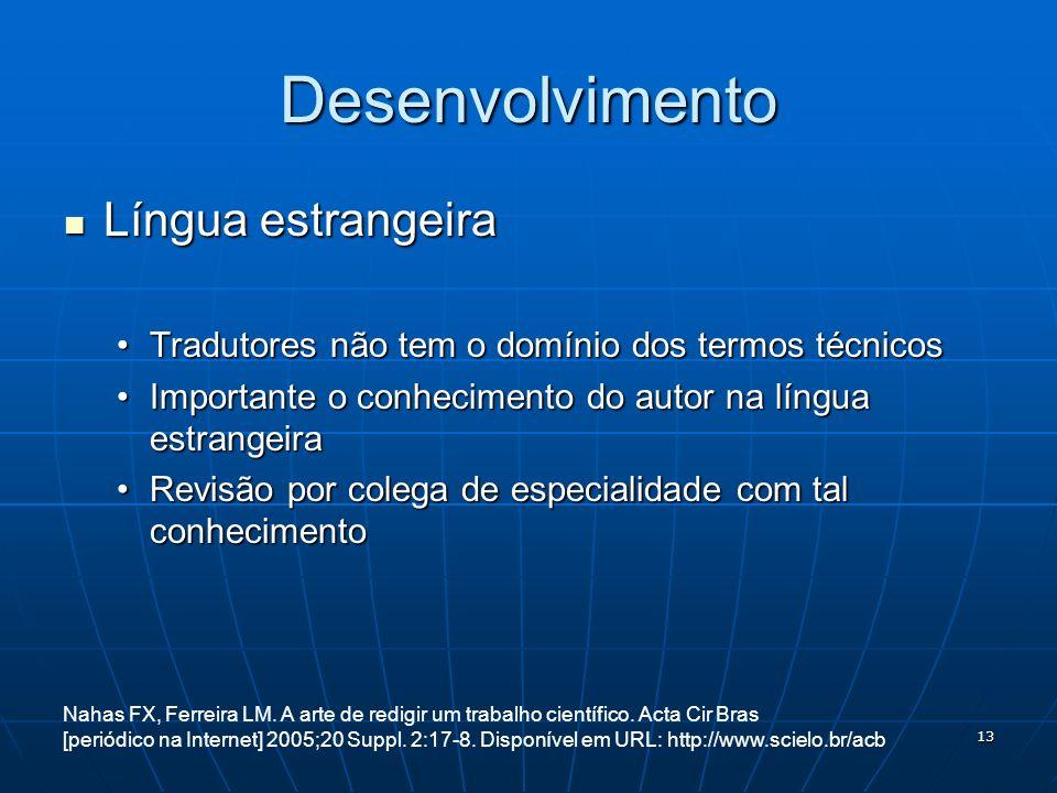 Desenvolvimento Língua estrangeira