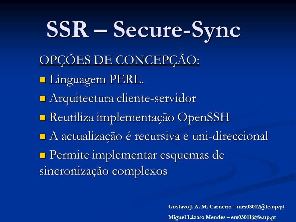 SSR – Secure-Sync OPÇÕES DE CONCEPÇÃO: Linguagem PERL.