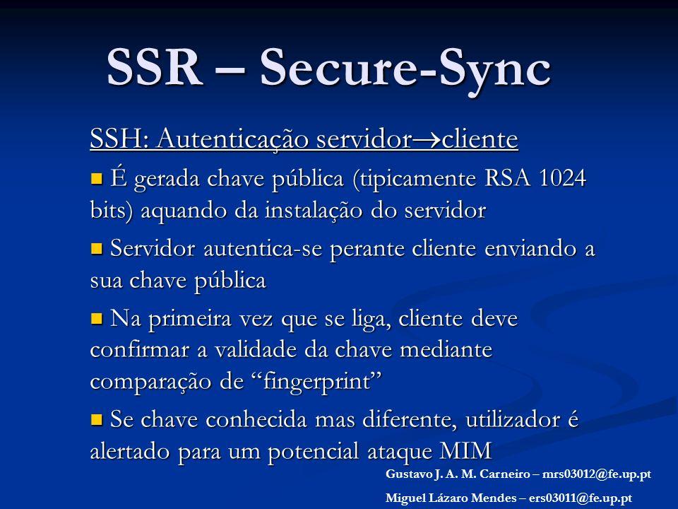 SSR – Secure-Sync SSH: Autenticação servidorcliente