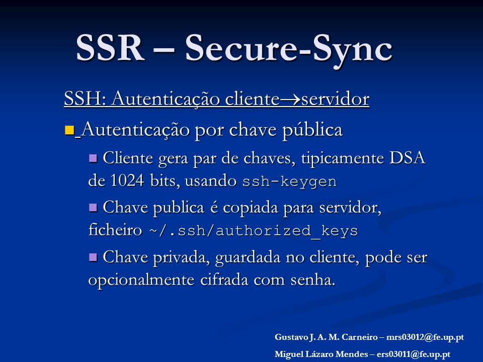 SSR – Secure-Sync SSH: Autenticação clienteservidor
