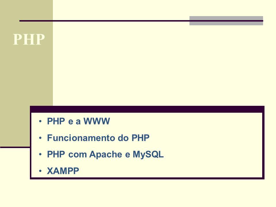 PHP PHP e a WWW Funcionamento do PHP PHP com Apache e MySQL XAMPP