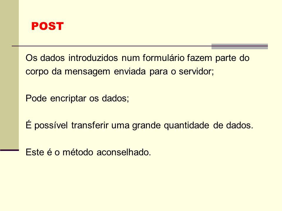 POST Os dados introduzidos num formulário fazem parte do corpo da mensagem enviada para o servidor;