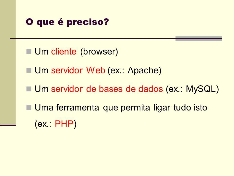 O que é preciso Um cliente (browser) Um servidor Web (ex.: Apache) Um servidor de bases de dados (ex.: MySQL)