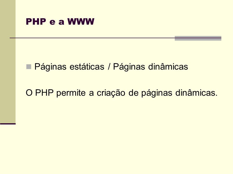 PHP e a WWW Páginas estáticas / Páginas dinâmicas O PHP permite a criação de páginas dinâmicas.