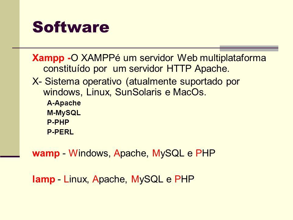Software Xampp -O XAMPPé um servidor Web multiplataforma constituído por um servidor HTTP Apache.