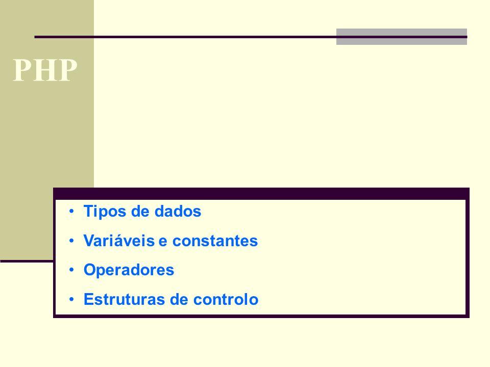 PHP Tipos de dados Variáveis e constantes Operadores